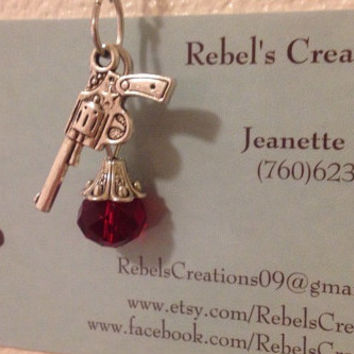 Antiqued Revolver Handgun And Ruby Red Gemstone Pendant Necklace