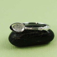 Sterling Silver CZ Spoon Ring