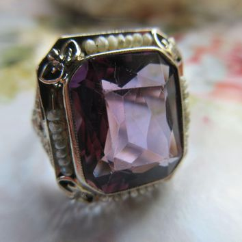 Vintage 20s 30s Deco Amethyst and Seed Pearl 14K White Gold Filigree Ring