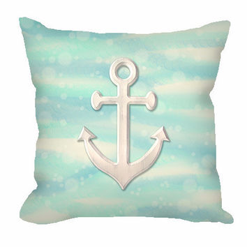 Nautical Anchor Throw Pillow on sea and sand with bubbles