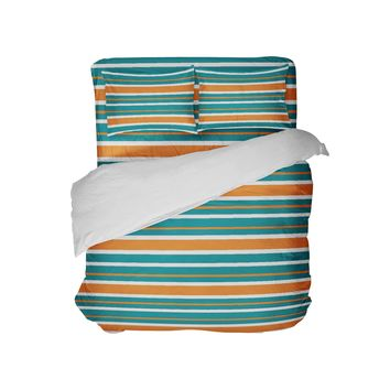 Miami Team Colors Stripes Comforter Set