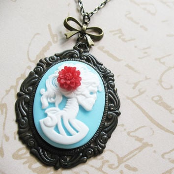 Victorian Gothic Lady Skeleton Necklace - Lenore - Love After Death - Soft Blue