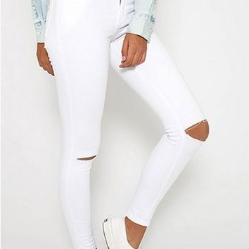White Zipper Pockets Ripped Destroyed High Waisted Skinny Pencil Long Jeans