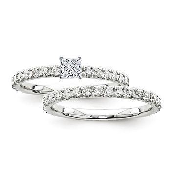 Certified 0.95 Ct. Princess Diamond Bridal Engagement Ring Set with Side Stones in 14K White Gold