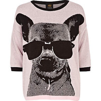 pink chihuahua glasses print jumper