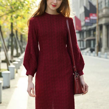Solid Knitted Lantern Sleeve Midi Dress