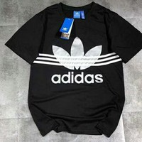 ADIDAS Three Stripe Silver Logo Tee Shirt Top B-AG-CLWM Black