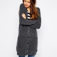ASOS Longline Cardigan in Rib with Pockets at asos.com