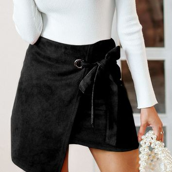 Simplee Asymmetrical Hem Wrap Knotted Suede Skirt