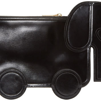 Black Leather Elephant Pouch