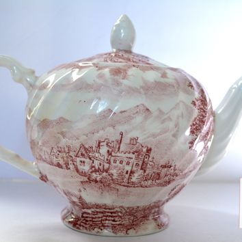 Vintage Red Transferware Teapot Horse & Carriage Castle Wood Sons Westmoreland