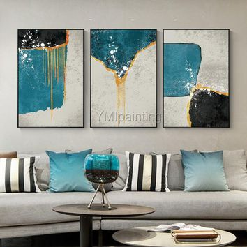3 pieces Wall Art Abstract art acrylic paintings on canvas Original art extra Large Wall Pictures home Decor Cuadros abstractos hand painted
