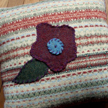 "pillow cover - wool throw pillow - appliqued pillow - housewarming gift - recycled - fair isle - 18"" - Anthropologie style"