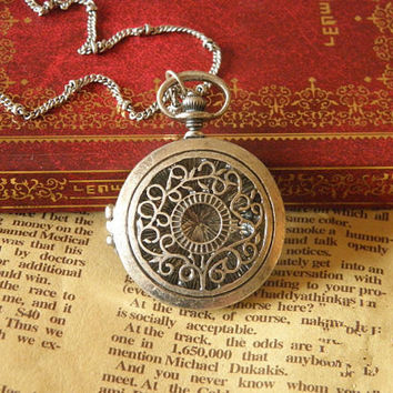vintage silver hollow out locket necklace jewelry