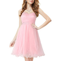 V-Neck High-Waist Pleated Pink Dress