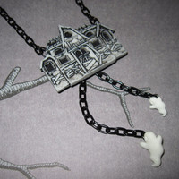 Haunted House Halloween Necklace Pendant Charm w/ Spooky Cute Dangling Ghosts Black Chain FREE SHIPPING To USA & Canada