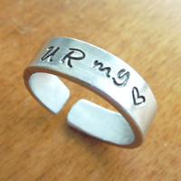 U R My Love ring U R My Heart  ring - Stamped silver-tone aluminum sweetheart ring - Handmade You Are My Love ring