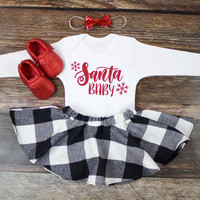 Girl's Christmas Skirt Outfit | 'Santa Baby' Top with Buffalo Plaid Twirl Skirt | Complete Baby or Toddler Christmas Set