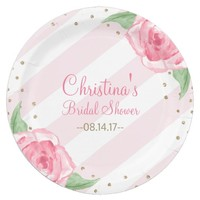 "Floral Watercolor 9"" Paper Plates Pink Stripes"