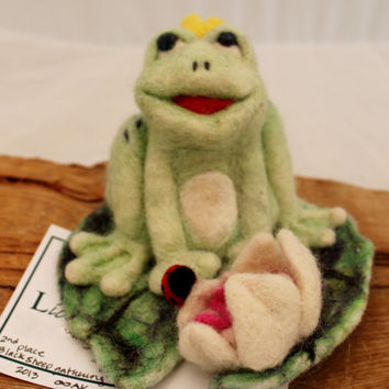 Frog, Needle Felted Prince Charming Frog