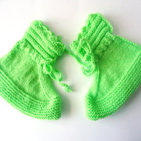 Socks, Handmade Knitting, Sleeping Socks, Home Socks, Slippers, Light Green