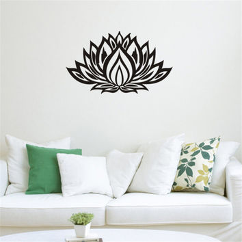 Art design Indian Namaste Words religion Wall Decal Vinyl Lotus Yoga sticker Buddha Ganesha home decoration bedroom Flower Mural