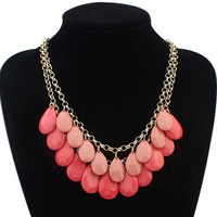 Waterdrop Shape Gemstone Embellished Necklace