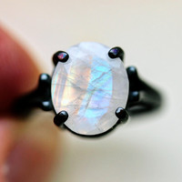 Custom 10x12 mm Oval Cut Moonstone in Sterling Made to Order in Your Size