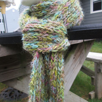 Hand Painted, Extra Long, Ribbed Scarf, wool/mohair