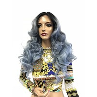 Blue Ombre' Swiss Lace Front Wig 22"
