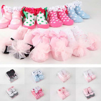 Baby Kids Girls Bow Ankle Socks Cotton Lace