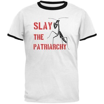 CREYCY8 Praying Mantis Slay the Patriarchy Mens Ringer T Shirt