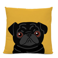 Pug Pillow - Black Pug on Yellow Pillow - Dog Pillow - Pug Lover Gift - Dog Lover Pillow - Kid's room pillow - Black Pug Decor - Dog Decor