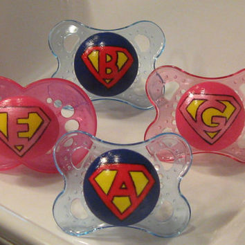 NEW - Personalized Super Baby on a Blue or Pink MAM or Clear Avent - Custom Hand Painted Pacifier