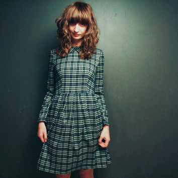 Winter Dress - Long sleeved - Midi dress in Plaid - Checkered Dress - Handmade by OFFON