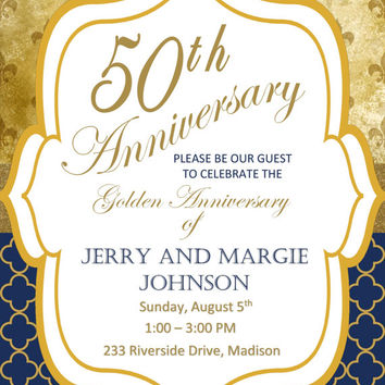 DIY Printable 50th Golden Wedding Anniversary Invitation Fleur de lis and Quatrafoil