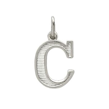 "925 Sterling Silver Rhodium Plated ""C"" Initial Pendant"