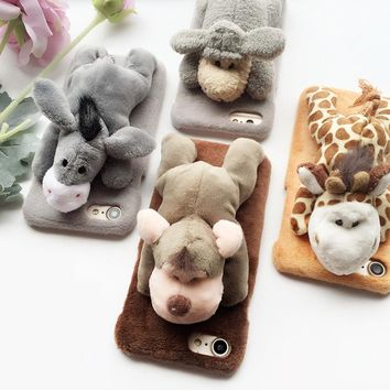Fashion Plush Animal Toy Phone cases for Iphone 6 6s 6plus Cartoon Cute Case Lovely doll Cover shell for 7 7plus