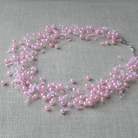 Pink Necklace. Wedding Necklace. Bridesmaid Necklace. Beadwork.  Multistrand Necklace.