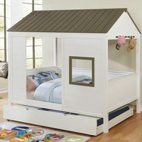 Cobin collection gray and white finish wood play house design full sized bed