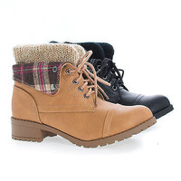 Loanna by Soda, Military Combat Lace Up Knitted Ankle Cuff Lug Sole Boots
