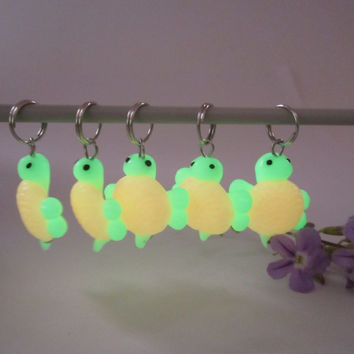 Glow in the Dark Turtle Stitch Marker (Set of 5)