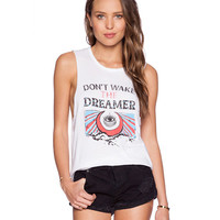Don't Wake Dreamer Graphic Print White Muscle Tee
