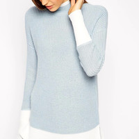 Blue And White Long-Sleeve Knitted Sweater