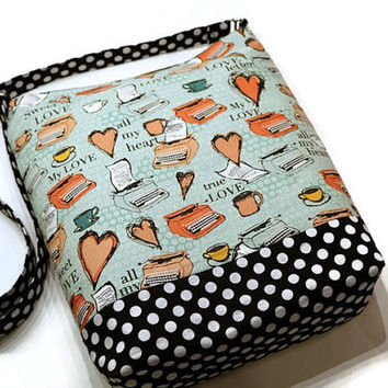 Cute retro print hobo sling bag, shoulder crossbody purse. Typewriters and hearts on aqua with black and white polka dots. Women gift idea.