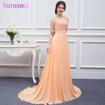 On Sale High Quality Nude Back Chiffon Lace Peach Color Cheap Bridesmaids Dresses 2018 Brides Maid of Wedding Bridesmaid Dress