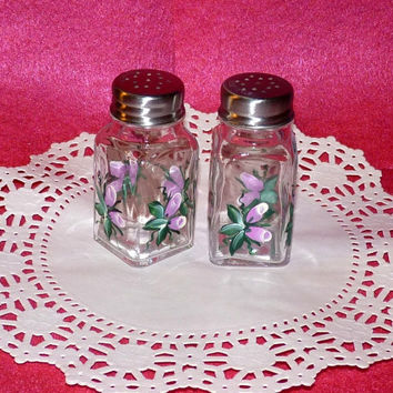 Salt & Pepper Shakers Glass Jars Glass Containters Hand Painted Roses Custom Pink