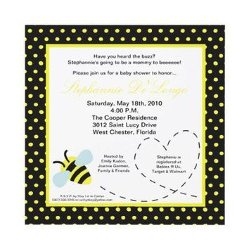 5x5 Bumble Honey Buzzin Bee Baby Shower Invitation from Zazzle.com