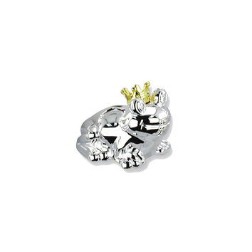 Frog with Gold-tone Crown Silver-plated Polished Metal Bank