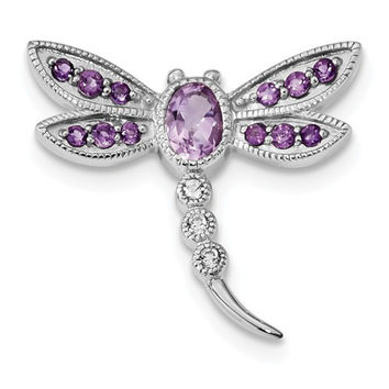 Sterling Silver Pink Quartz Amethyst & White Topaz Dragonfly Pin / Chain Slide Pendant